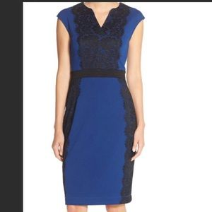 Gabby Skye Blue Dress with a Black Lace Details